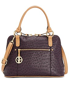 Giani Bernini Ostrich-Embossed Dome Satchel, Created for Macy's
