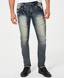 Reason Men's Pacific Faded Ripped Moto Jeans