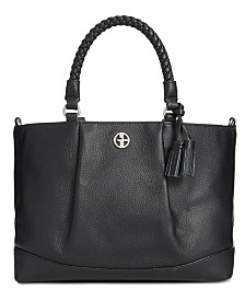 Giani Bernini Braided Handle Leather Satchel, Created for Macy's
