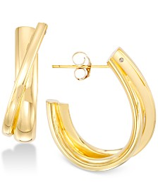 Signature Gold Diamond Accent Hoop Earrings in 14k Gold, Created for Macy's