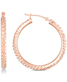 Diamond Accent Textured Round Hoop Earrings in 14k Rose Gold Over Resin, Created for Macy's