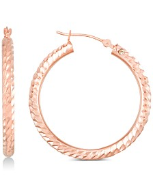 Signature Gold Diamond Accent Textured Round Hoop Earrings in 14k Rose Gold Over Resin, Created for Macy's