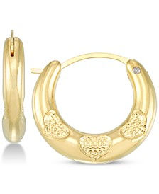 Diamond Accent Claddagh Heart Hoop Earrings in 14k Gold Over Resin, Created for Macy's