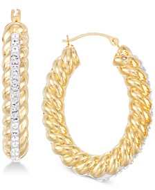 Crystal & Diamond Accent Braided Hoop Earrings in 14k Gold Over Resin, Created for Macy's