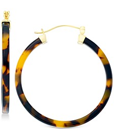 Tortoiseshell-Look Lucite Hoop Earrings in 18k Gold over Sterling Silver