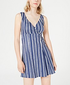 Juniors' Striped Surplice Dress