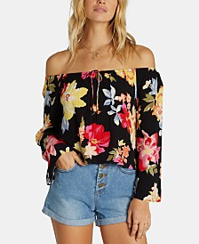 Billabong Juniors' Floral-Print Off-The-Shoulder Top
