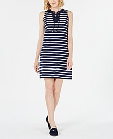 Striped Lace-Up Dress, Created for Macy's
