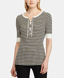 Lauren Ralph Lauren Stripe-Print Lace-Up Cotton Top