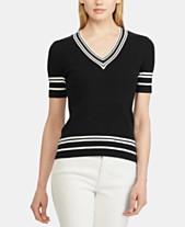 ad30b4ea3fbf Lauren Ralph Lauren Striped-Trim Short-Sleeve Ribbed Sweater