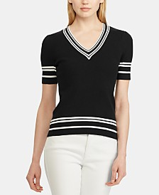 Lauren Ralph Lauren Striped-Trim Short-Sleeve Ribbed Sweater