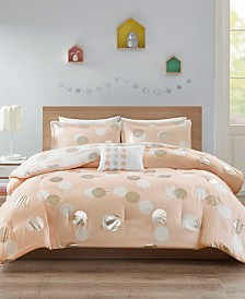 Mi Zone Emelia Full/Queen 4 Piece Metallic Dot Print Reversible Comforter Set