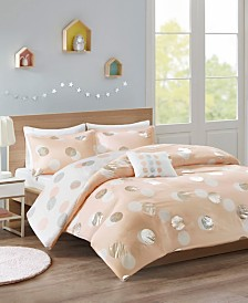 Mi Zone Emelia 4-Pc. Metallic Dot Print Reversible Duvet Cover Sets