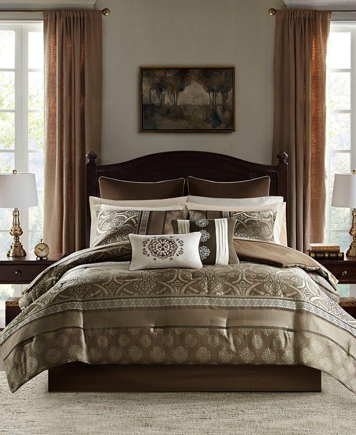 JLA Home - Zara King 16 Piece Jacquard Complete Bedding Set With 2 Sheet Sets