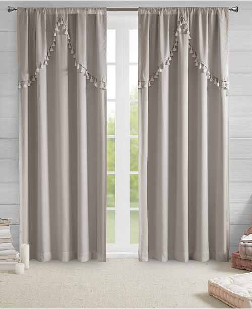 "Intelligent Design Esther Total Blackout Rod Pocket 50"" x 63"" Window Panel with Attached Scallop Tassel Valance"