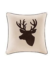 "Madison Park Deer Embroidered Suede 20"" x 20"" Square Pillow"