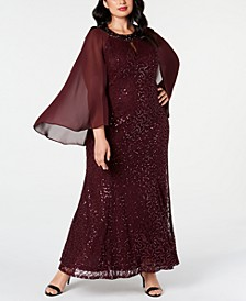 Plus Size Lace Capelet Gown