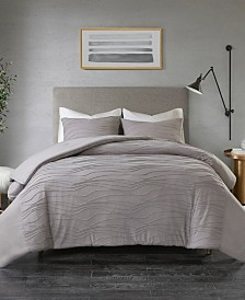 Madison Park Dion King/California King 3 Piece Cotton Blend Jersey Knit Pleated Comforter Set