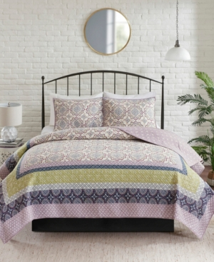 Closeout! Madison Park Piper Full/Queen 3-Pc. Reversible Printed Coverlet Set Bedding