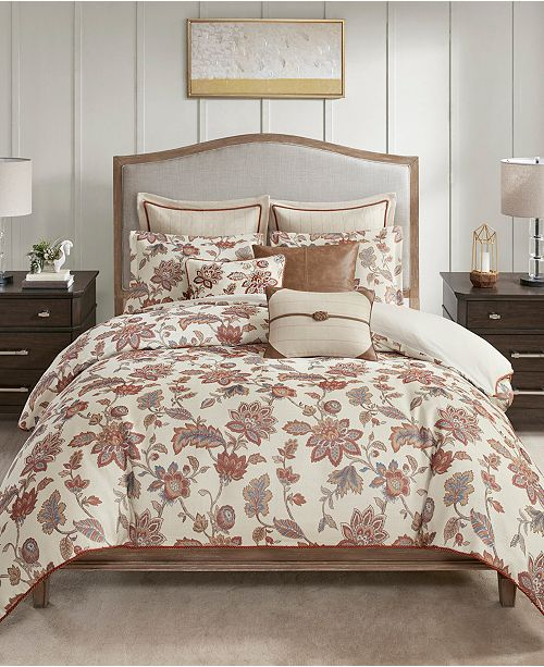 JLA Home Madison Park Signature Wentworth Queen 8 Piece Jacquard Comforter Bedding Set