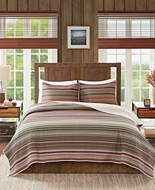 Willard King/California King 3 Piece Oversized Stripe Print Cotton Reversible Quilt Set