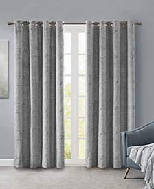 """Ava 50"""" x 84"""" Knitted Jacquard Marble Total Blackout Panel"""