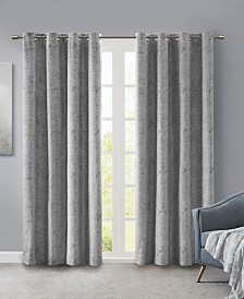 "SunSmart Ava 50"" x 84"" Knitted Jacquard Marble Total Blackout Panel"
