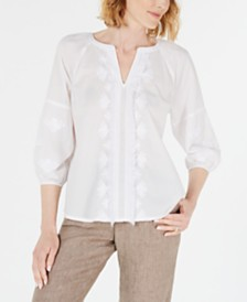 Charter Club Cotton Embroidered Fringe-Trim Top, Created for Macy's