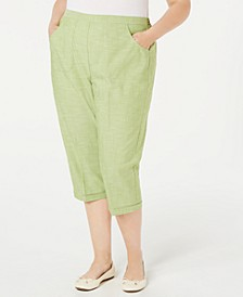 Plus Size Santa Fe Embellished-Hem Cropped Pants