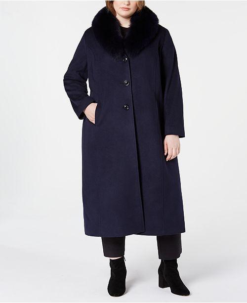 Forecaster Plus Size Fox-Fur-Collar Maxi Coat