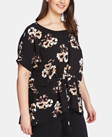 1.STATE Plus Size Cinched-Waist Floral-Print Top
