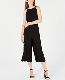 Maison Jules Scalloped Halter Jumpsuit, Created for Macy's