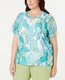 Plus Size Coastal Drive Leaf-Print Studded Top