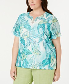 Alfred Dunner Plus Size Coastal Drive Leaf-Print Studded Top