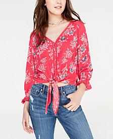 American Rag Juniors' Printed Tie-Front Crochet Top, Created for Macy's