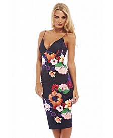 Floral Plunge Front Cross Back Midi Dress