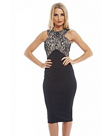 Lace Detailed Top Midi Dress