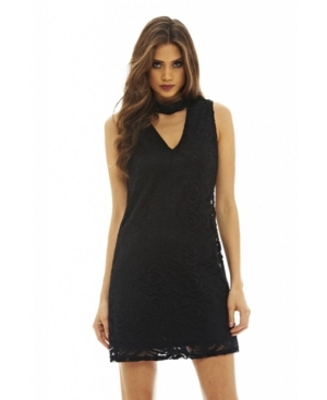 Choker Neck Lace Dress In Black