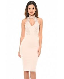 AX Paris Blush Halter neck Choker Dress with Lace Detail