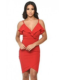 AX Paris Wrap Over Dress Featuring Frill Detail