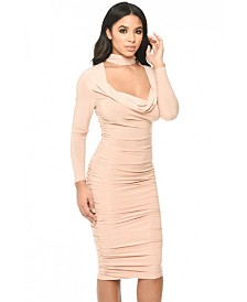 AX Paris Long Sleeved Ruched Detail Dress
