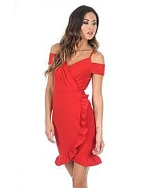 Cold Shoulder Wrap Mini Dress