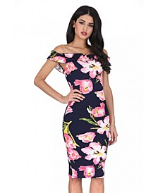 Ruffle Bardot Floral Midi Dress