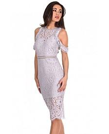 AX Paris Lace Cold Shoulder Midi Dress