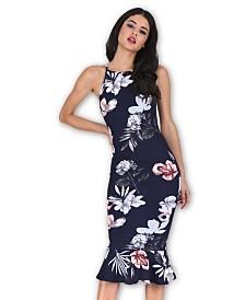 AX Paris Floral High Neck Fishtail Dress