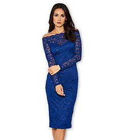 Lace Long Sleeved Midi Dress