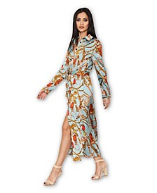 Duck Egg Printed Long Sleeve Shirt Dress