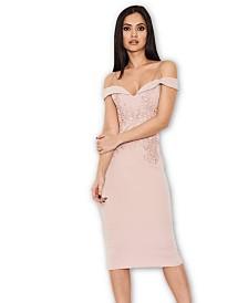 AX Paris Off the Shoulder Lace Midi Dress with Delicate Straps