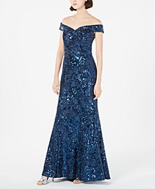 Off-The-Shoulder Sequined Lace Gown