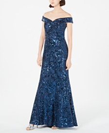 Calvin Klein Off-The-Shoulder Sequined Lace Gown